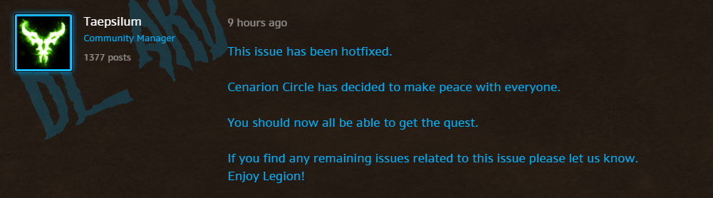 World of Warcraft - Hotfix for Cenarion Circle Rep