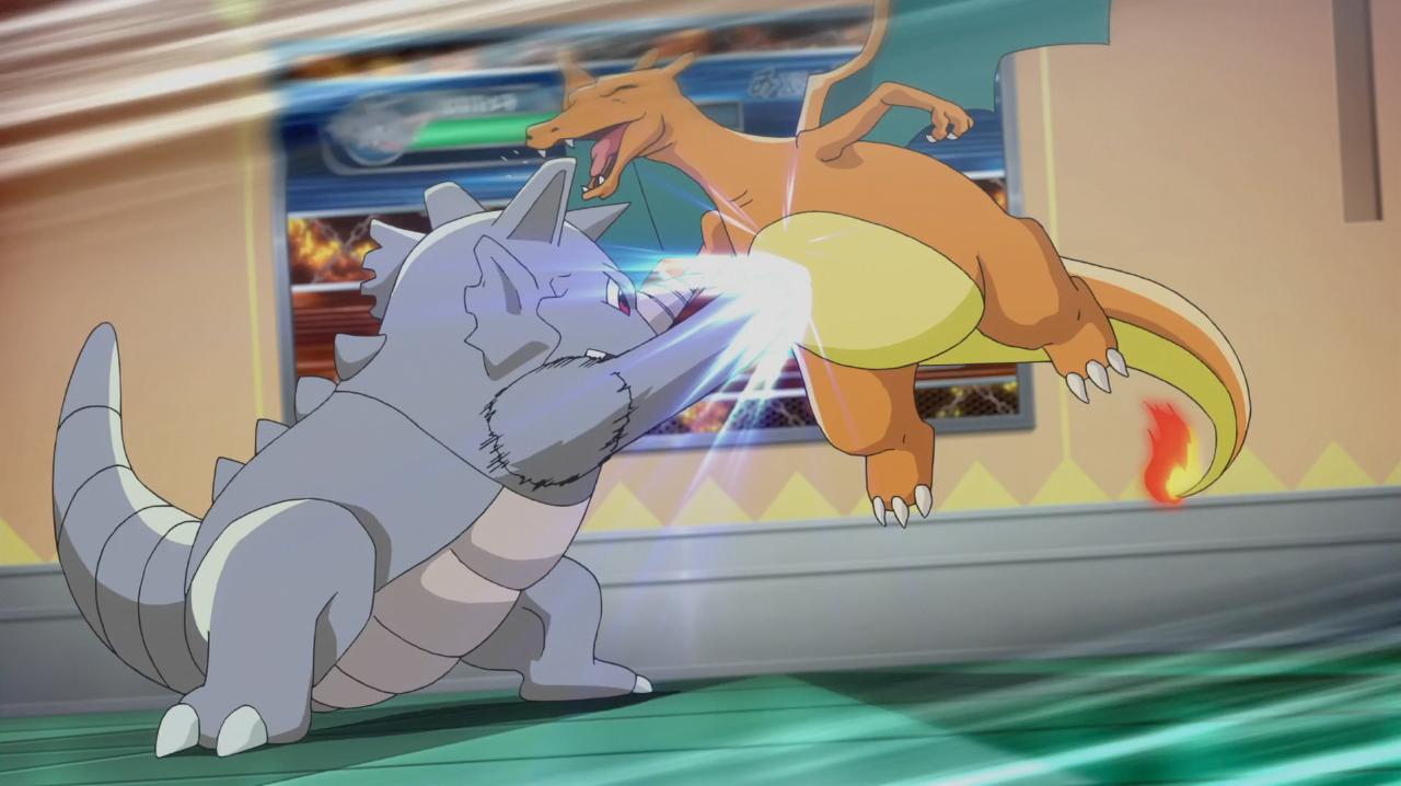 Rhydon battles Charizard - Rhydon was the first Pokemon created