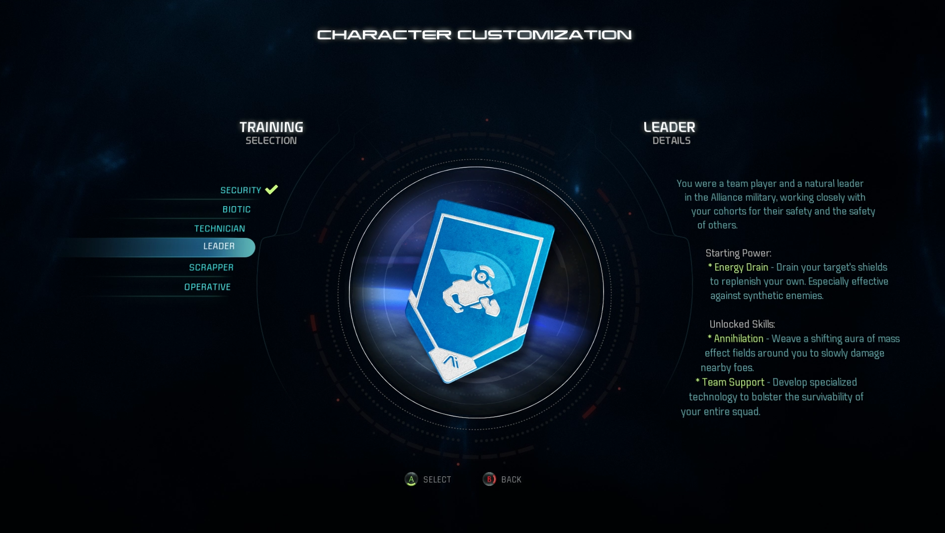 Mass Effect: Andromeda Training Selection Guide
